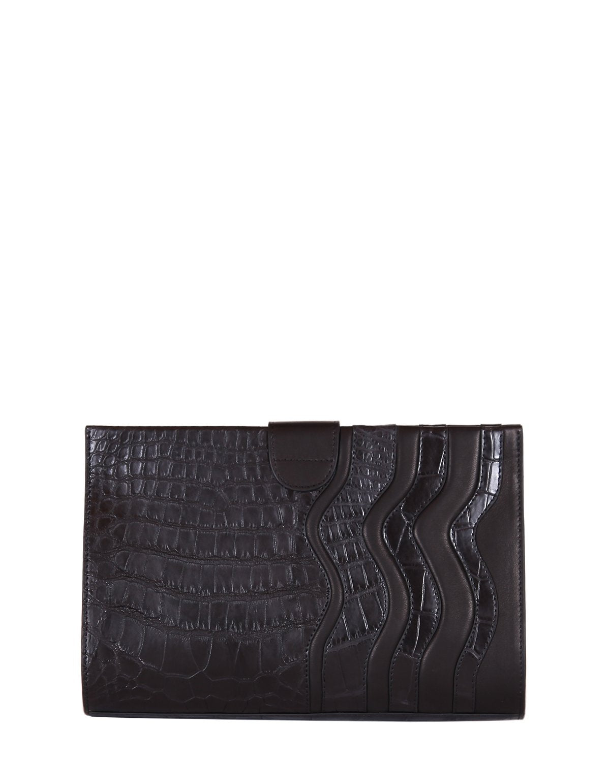 Black American Alligator Clutch with Lambskin Trims in black back view