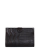 Black American Alligator Clutch with Lambskin Trims in black front view