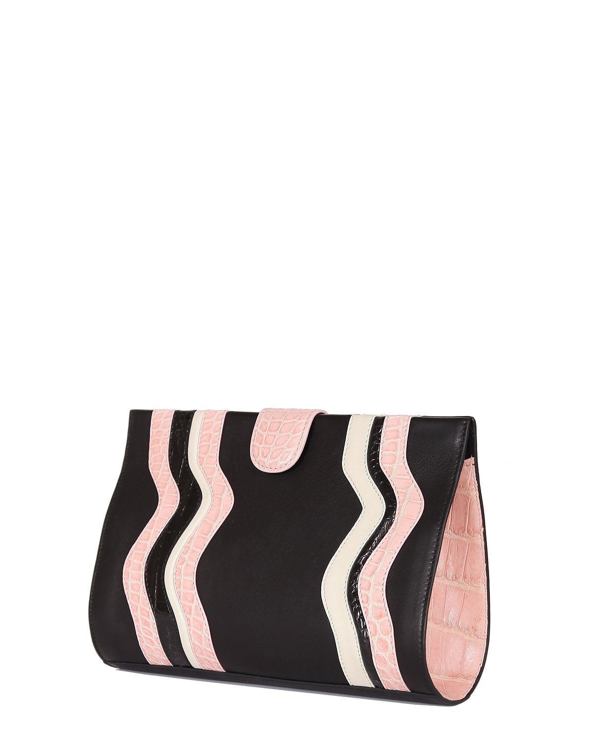 Black Lambskin Clutch with Genuine American Alligator pink and black wavy trims angle view side gusset in pink alligator