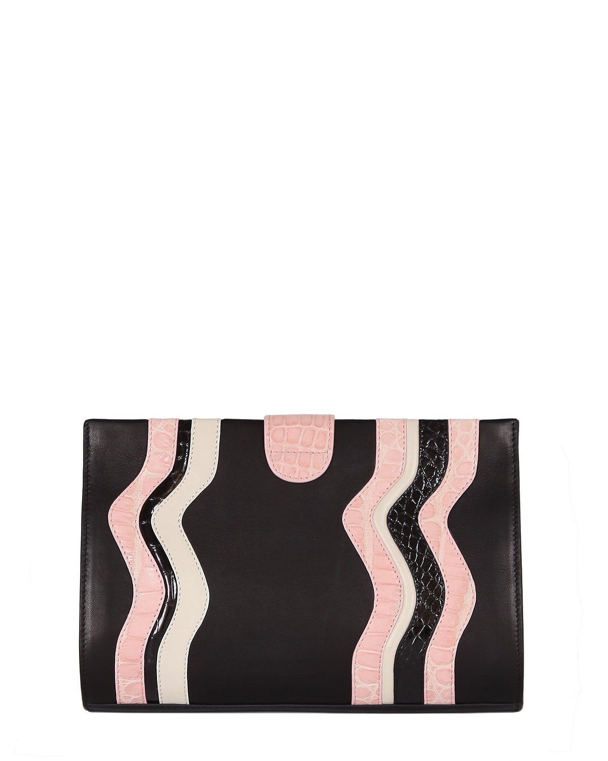Black Lambskin Clutch with Genuine American Alligator pink and black wavy trims back view