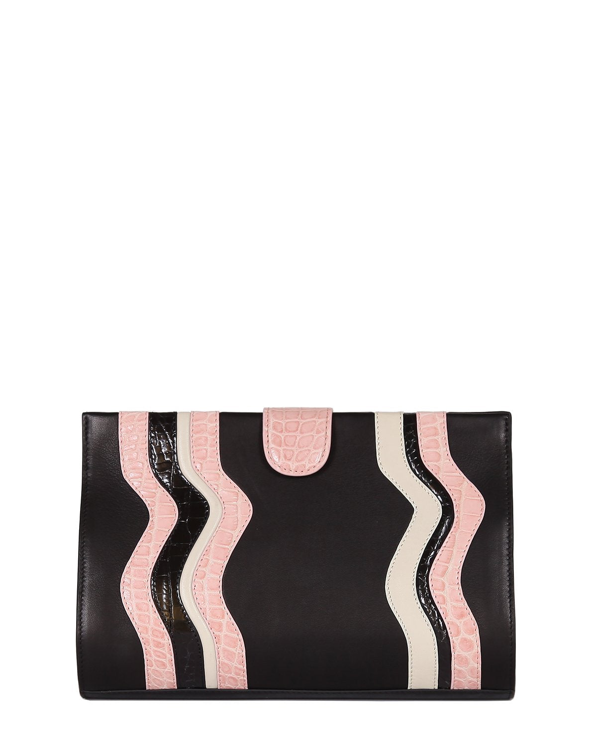 Black Lambskin Clutch with Genuine American Alligator pink and black wavy trims front view