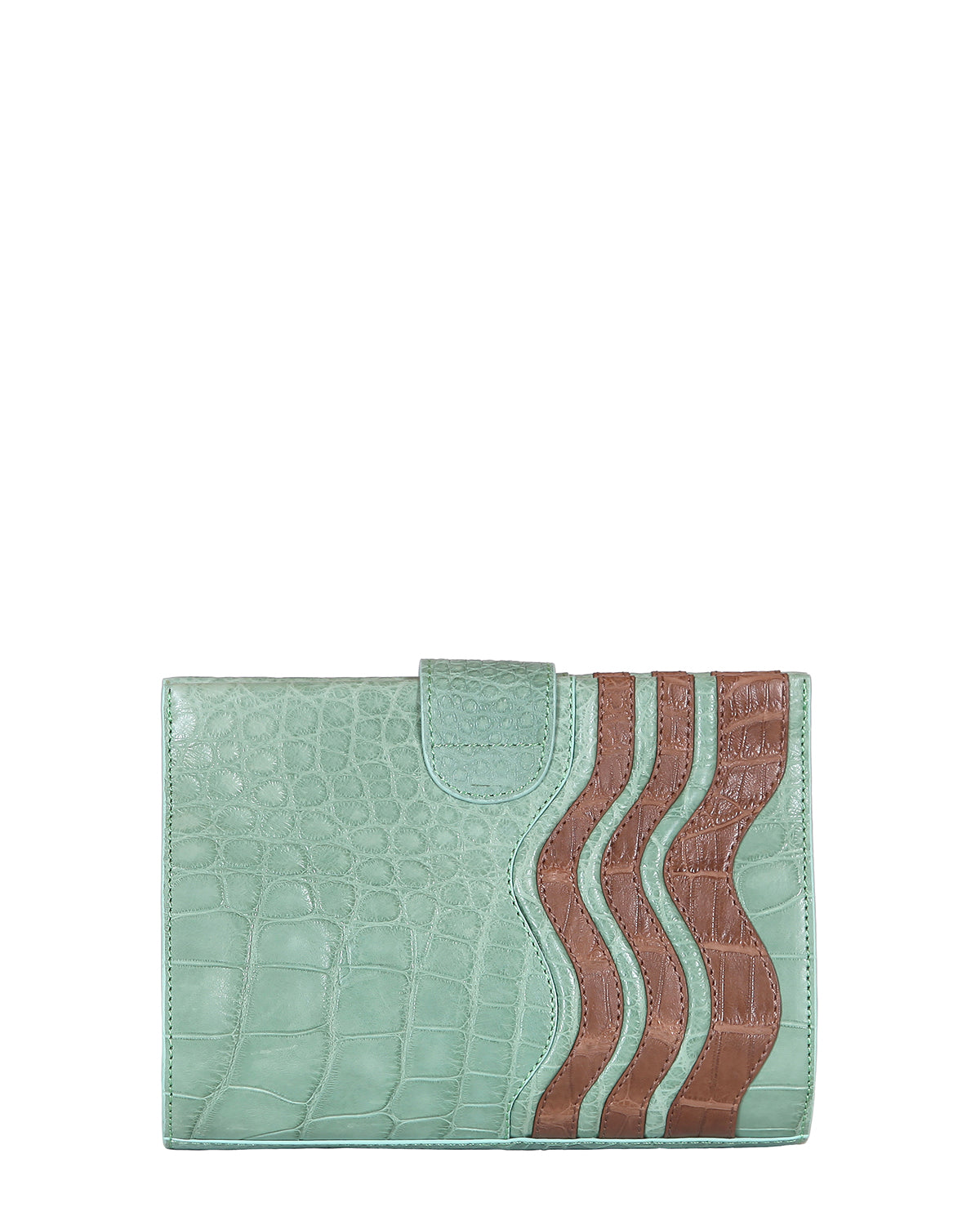 Yara Bashoor Joey Clutch Handbag Mint Green Brown Genuine American Alligator Back View