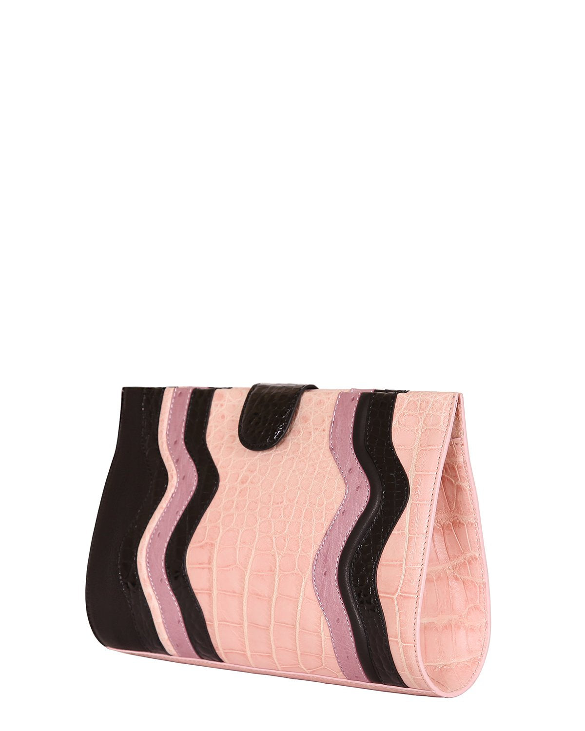 One of a Kind Beautifully Handcrafted Clutch in Genuine American Alligator Blush pink with Black and Lavender Trim Angle View Side Gusset in Blush Pink Alligator