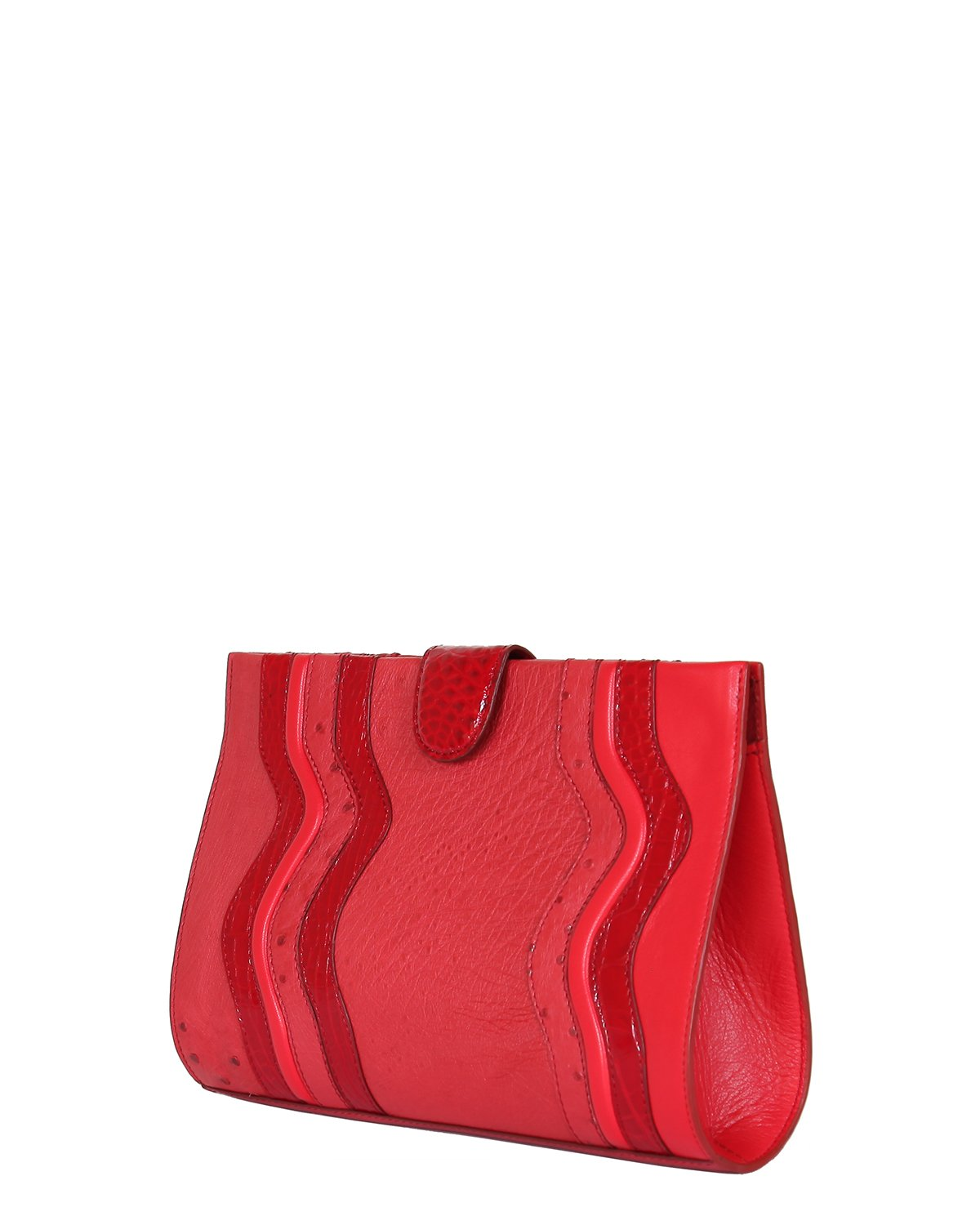 One of a Kind Beautifully Handcrafted Clutch in Genuine Ostrich Red with Red Genuine alligator wavy Trims Angle View