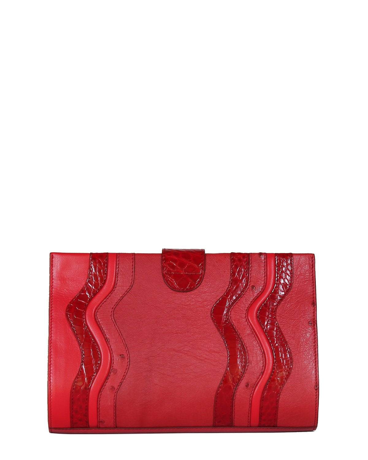 One of a Kind Beautifully Handcrafted Clutch in Genuine Ostrich in Red with Red Genuine alligator wavy Trims Back View