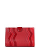 One of a Kind Beautifully Handcrafted Clutch in Genuine Ostrich Red with Red Genuine alligator wavy Trims Front View