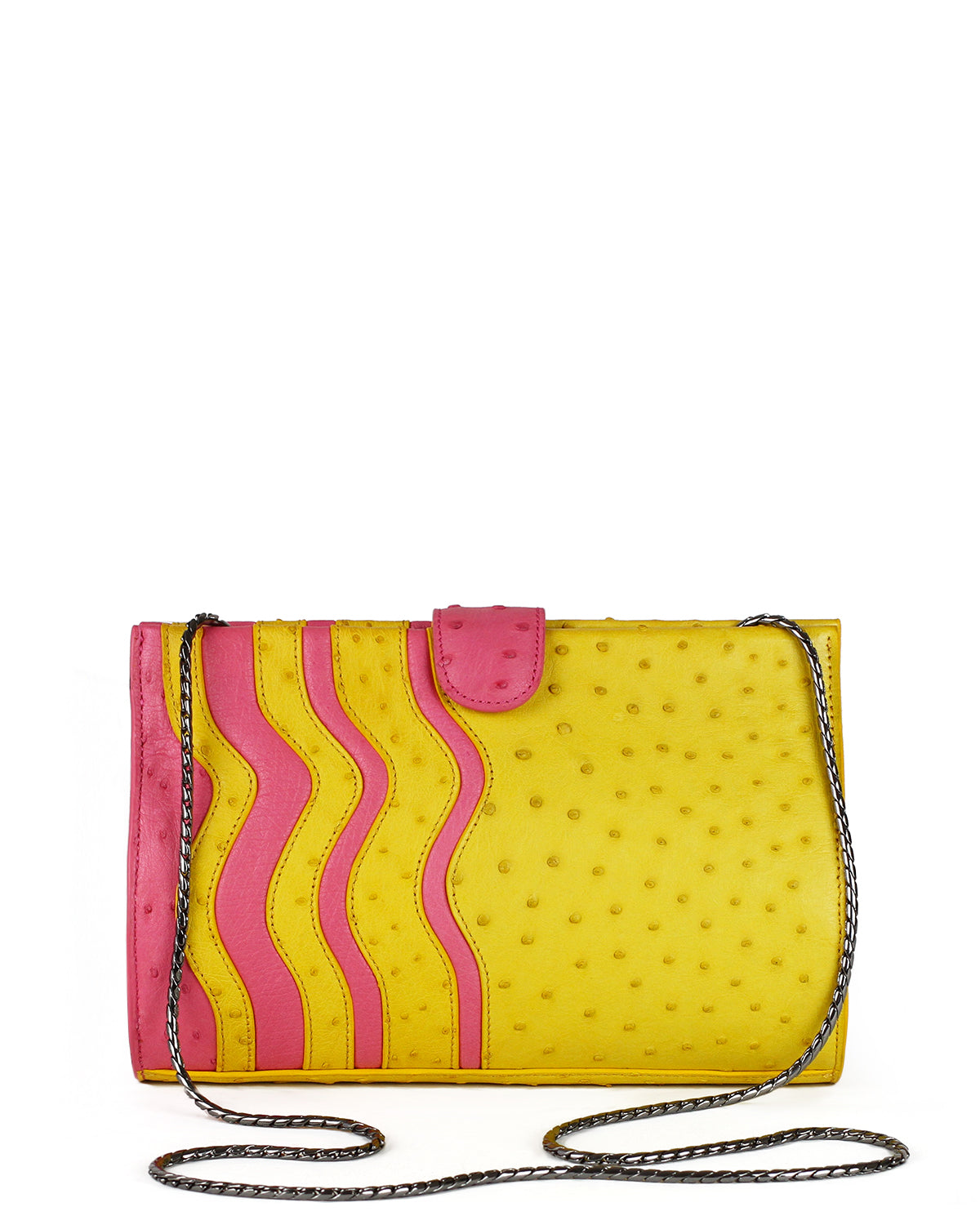Genuine Ostrich yellow and pink front clutch Yara Bashoor with long gunmetal shoulder chain