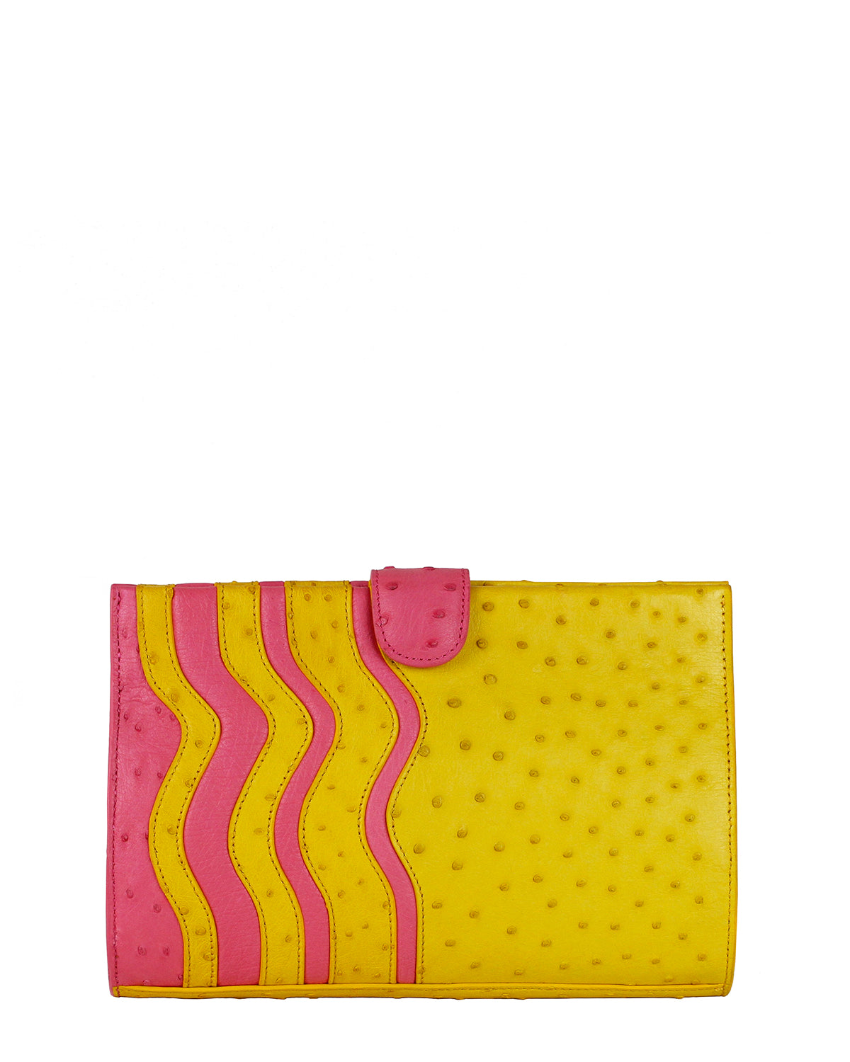 Genuine Ostrich yellow and pink front clutch Yara Bashoor
