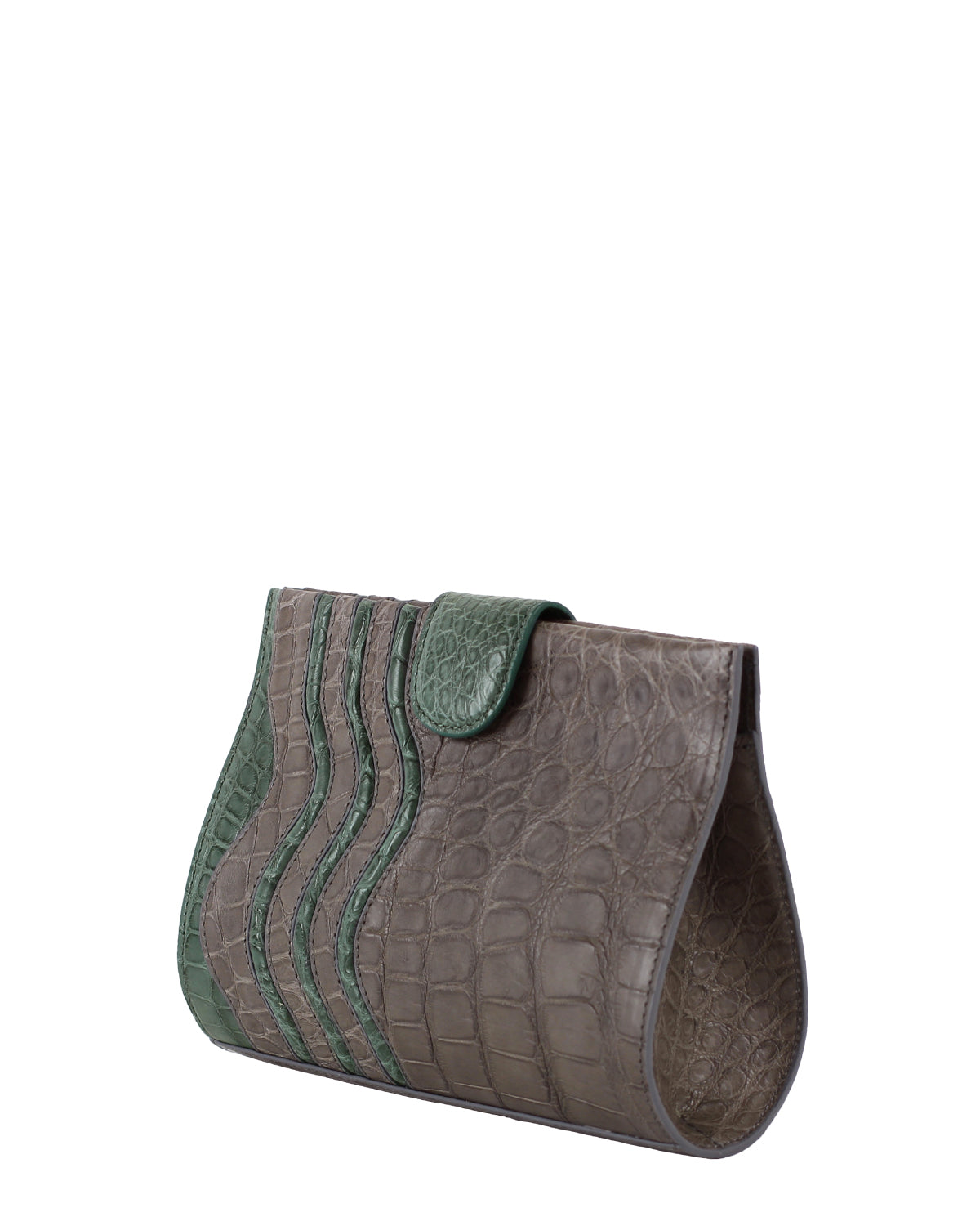 YB Joey Clutch Matte Green Dark Brown Alligator Yara Bashoor Angle View