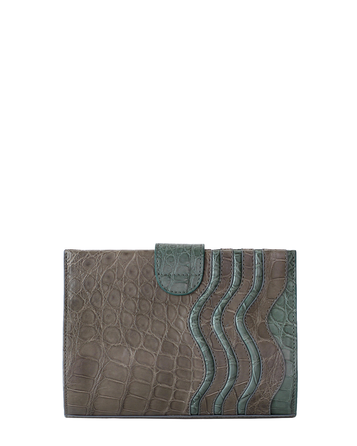 YB Joey Clutch Matte Green Dark Brown Alligator Yara Bashoor Back View