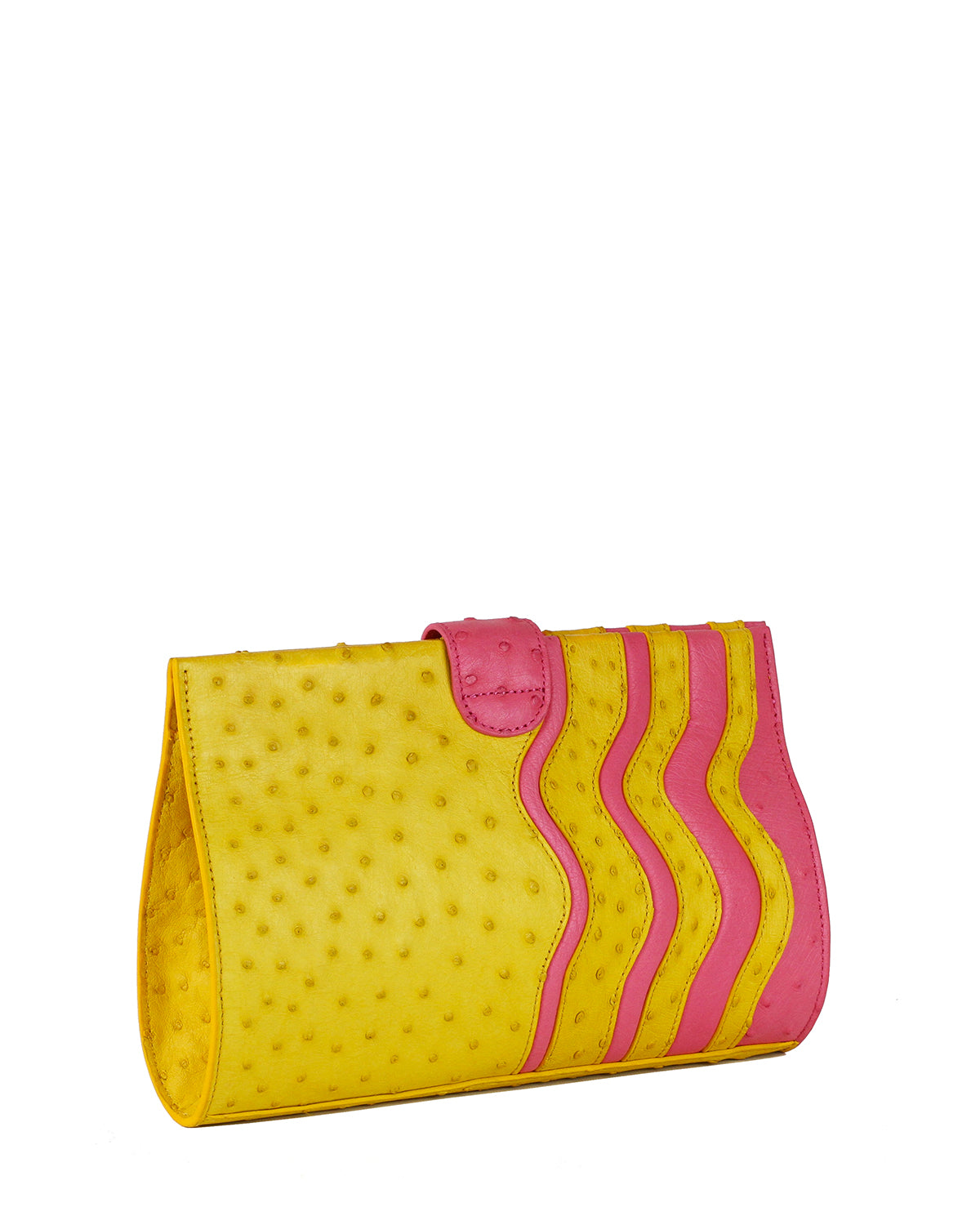 Genuine Ostrich Clutch in Yellow with Pink wavy Trims back angle view
