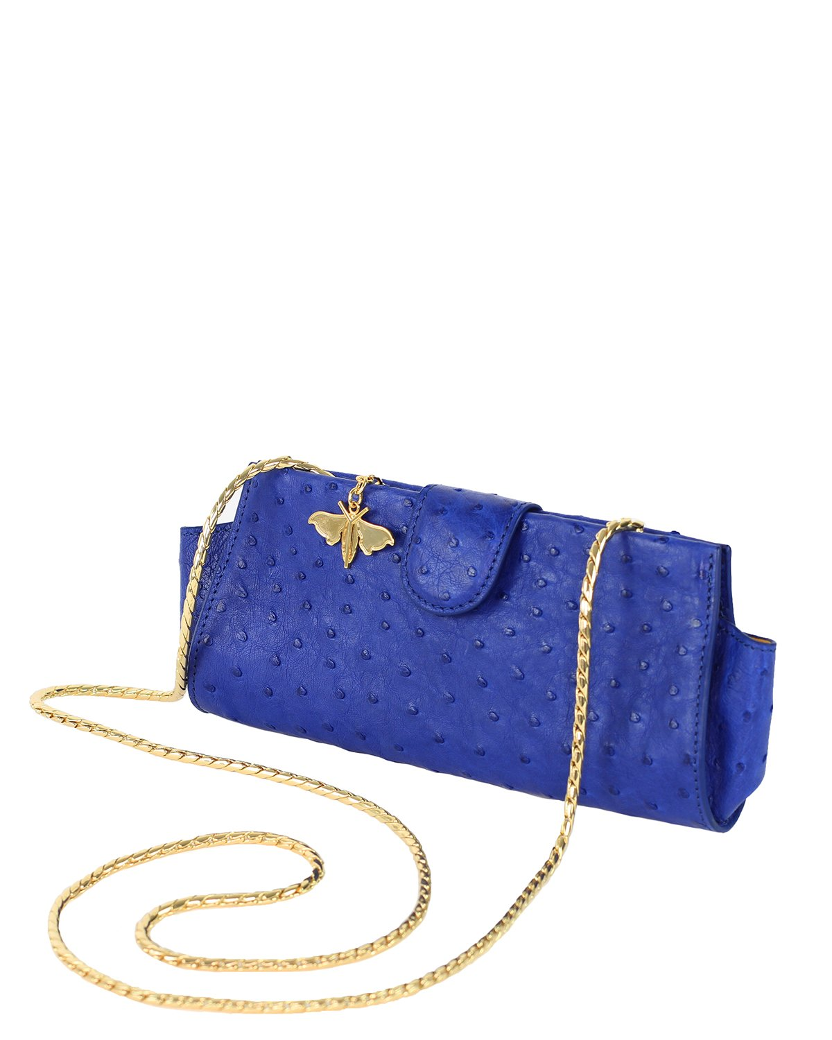 Ostrich Genuine LOUI Clutch Attachable Chain Royal Blue Yellow Gold Yara Bashoor Angle View