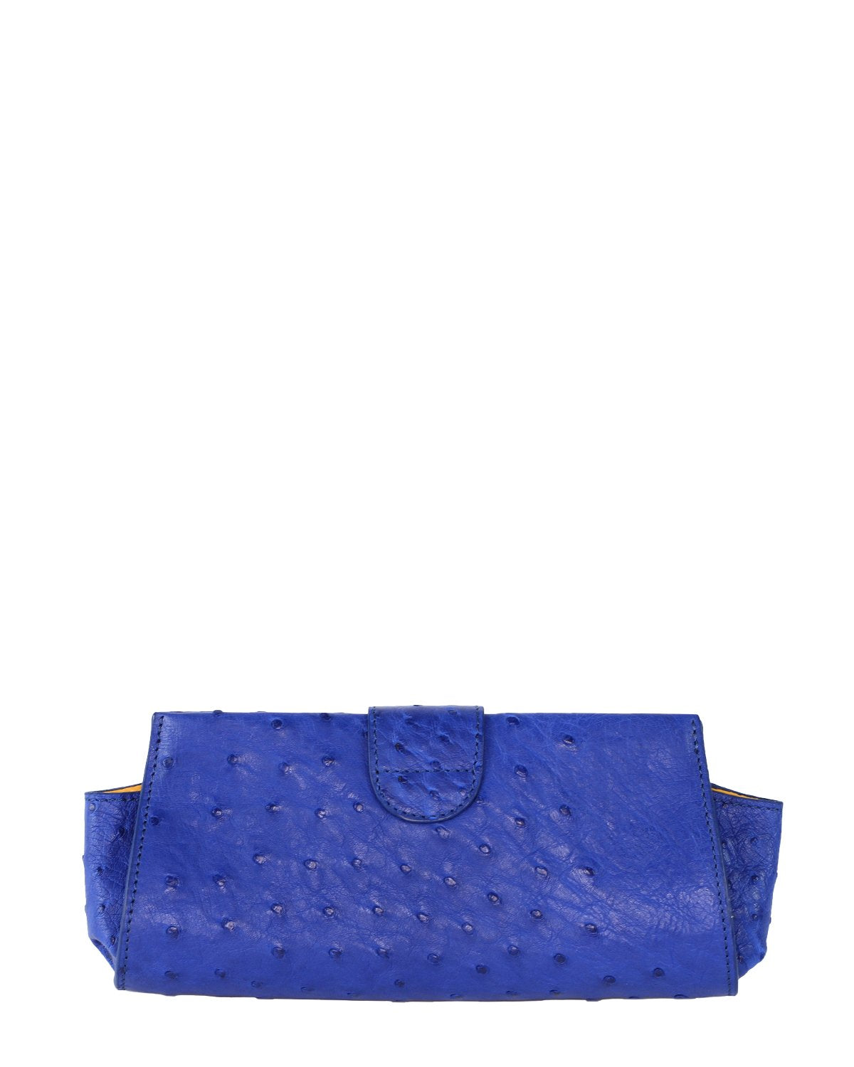 Ostrich Genuine LOUI Clutch Attachable Chain Royal Blue Yellow Gold Yara Bashoor Back View