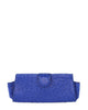 Ostrich Genuine LOUI Clutch Attachable Chain Royal Blue Yellow Gold Yara Bashoor Front View
