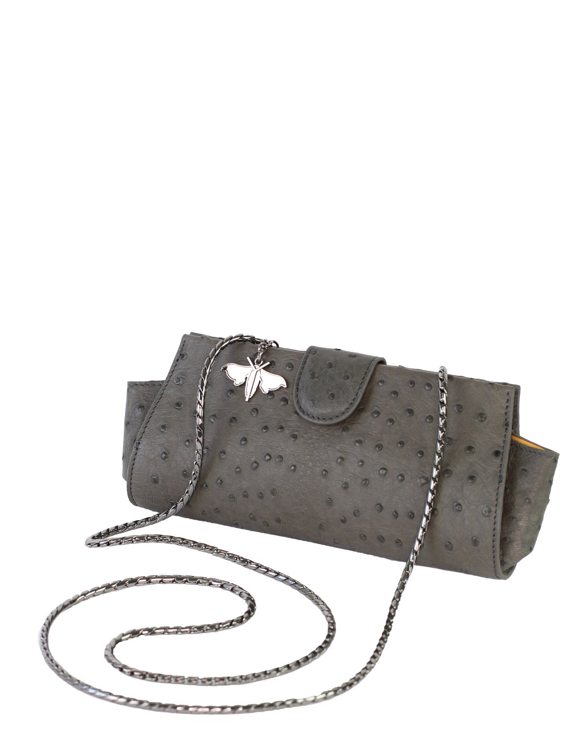 Ostrich Genuine LOUI Clutch Attachable Chain Charcoal Gunmetal Silver Yara Bashoor Angle View