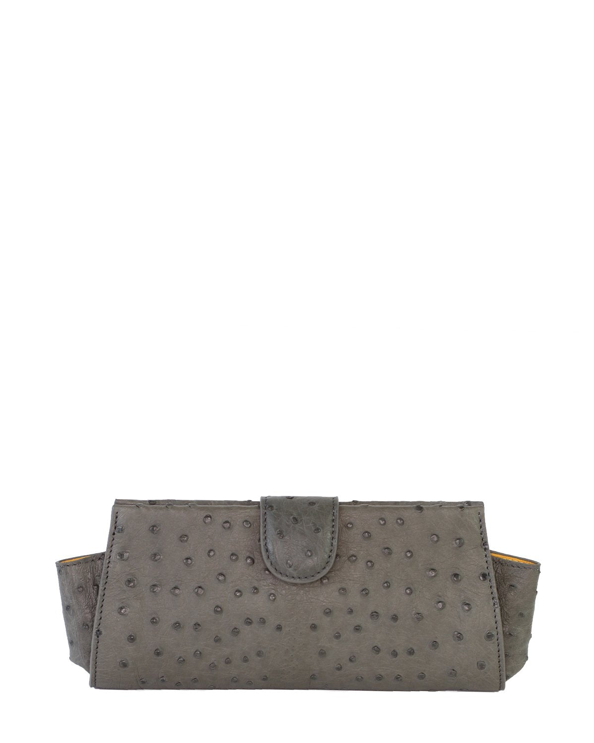 Ostrich Genuine LOUI Clutch Attachable Chain Charcoal Gunmetal Silver Yara Bashoor Front View