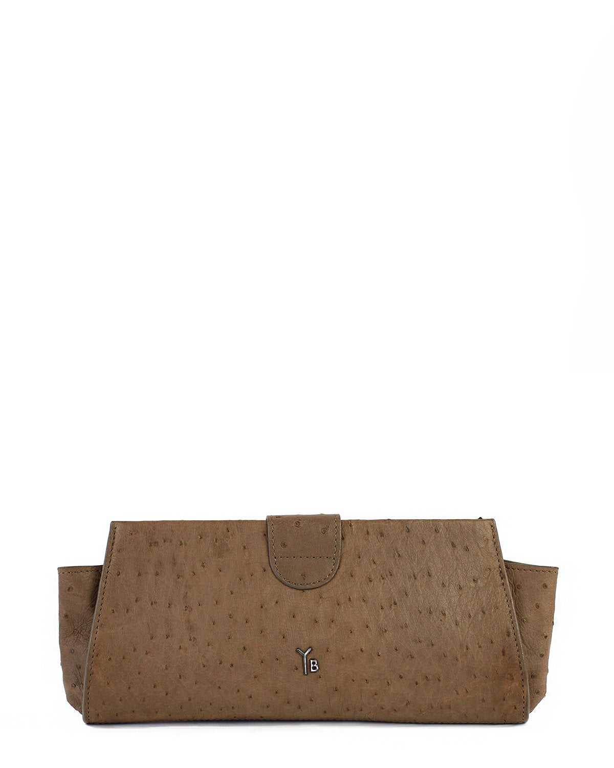 Genuine Ostrich Clutch Brown