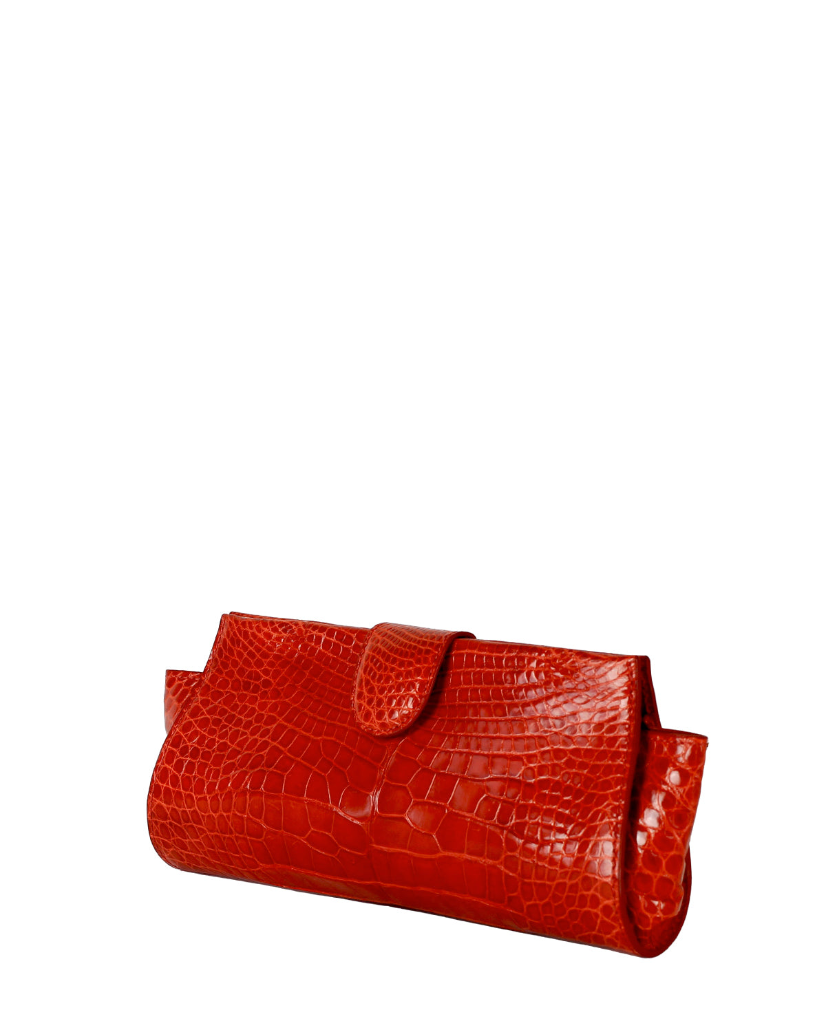 YB Red Croco Alligator Evening Clutch Angle View