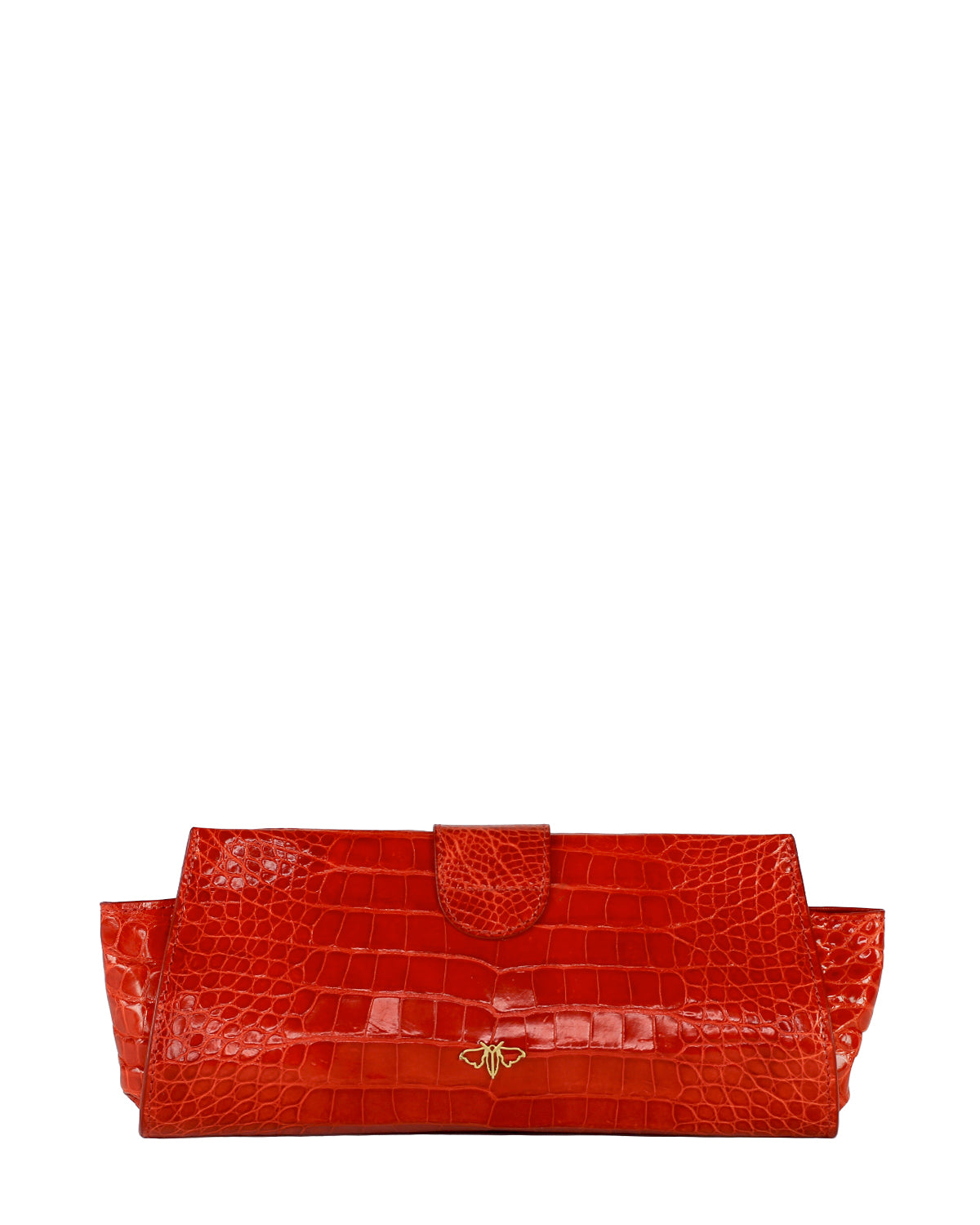 YB Red Croco Alligator Evening Clutch Back View with Moth Logo