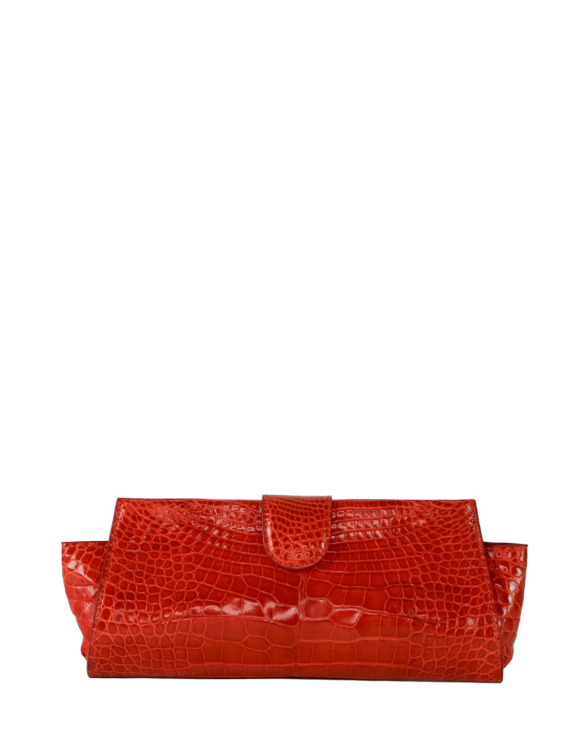 YB Red Croco Alligator Evening Clutch Front View