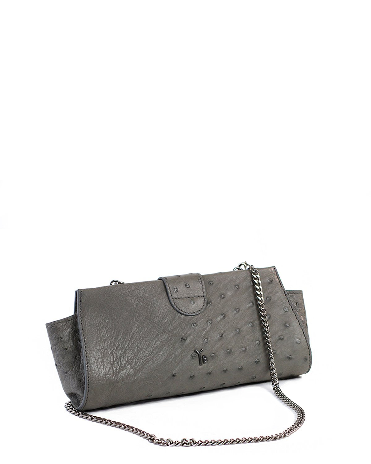 Genuine Ostrich Clutch Grey