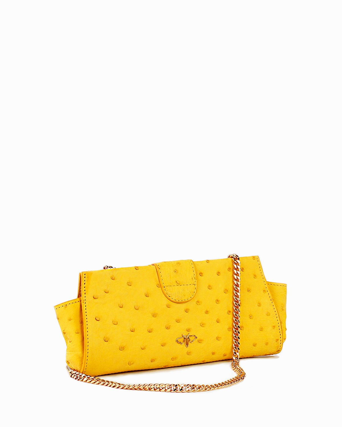 Genuine Ostrich Bag Clutch Small Yellow Back Angle View with Gold Shoulder Chain