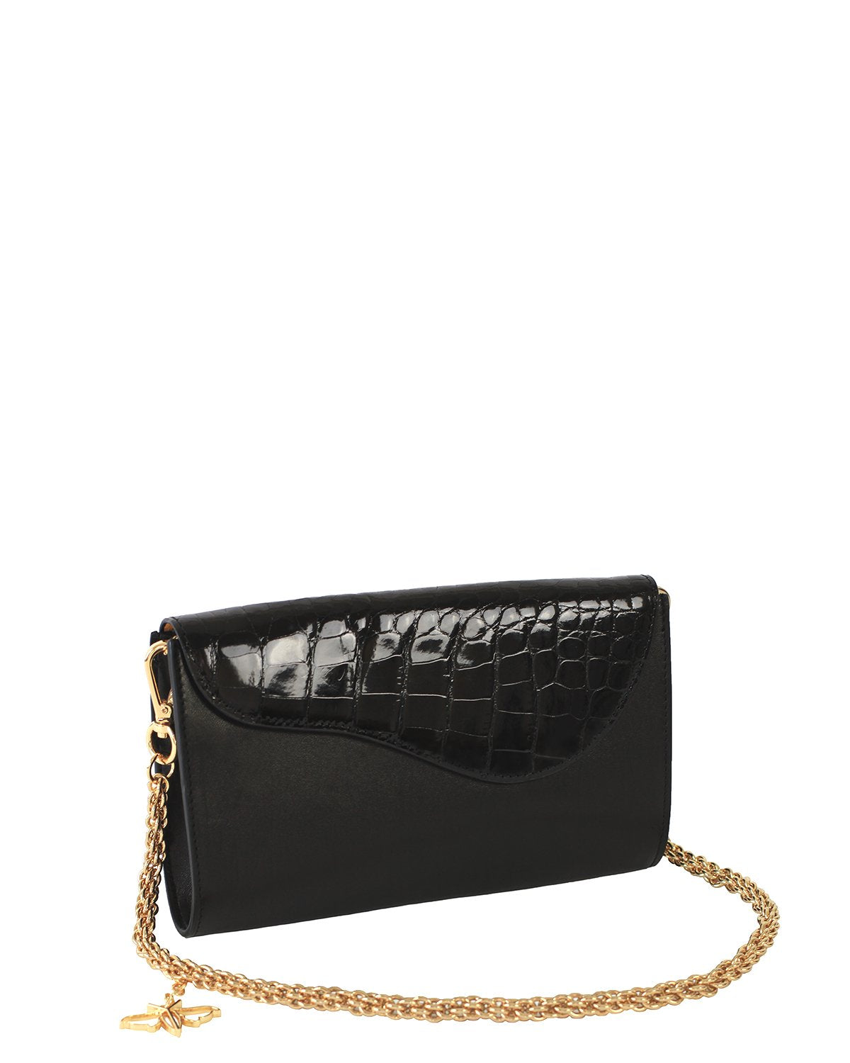 BLACK GRAY ALLIGATOR OSTRICH OSCAR CLUTCH YELLOW GOLD YARA BASHOOR ANGLE VIEW