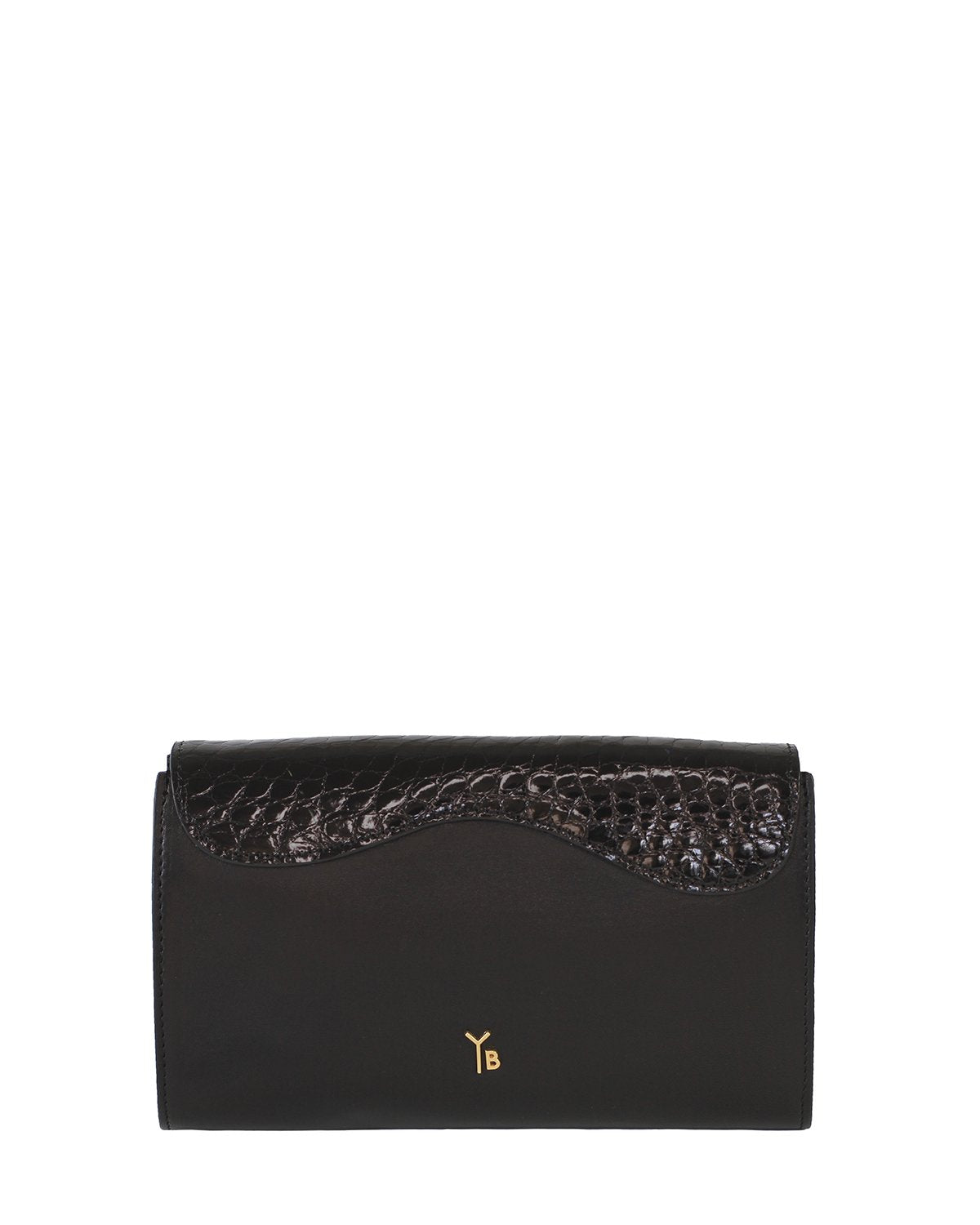 BLACK GRAY ALLIGATOR OSTRICH OSCAR CLUTCH YELLOW GOLD YARA BASHOOR BACK VIEW
