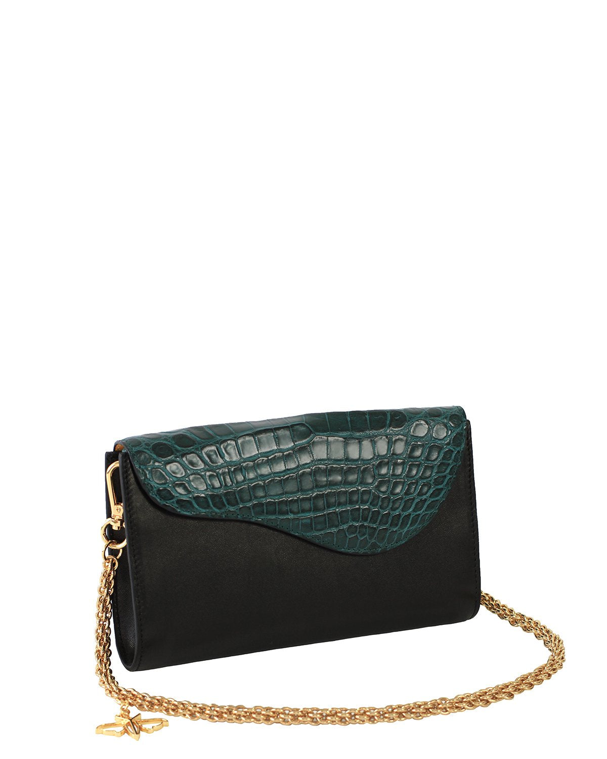 GREEN BLACK GRAY ALLIGATOR OSTRICH OSCAR CLUTCH YELLOW GOLD YARA BASHOOR ANGLE VIEW