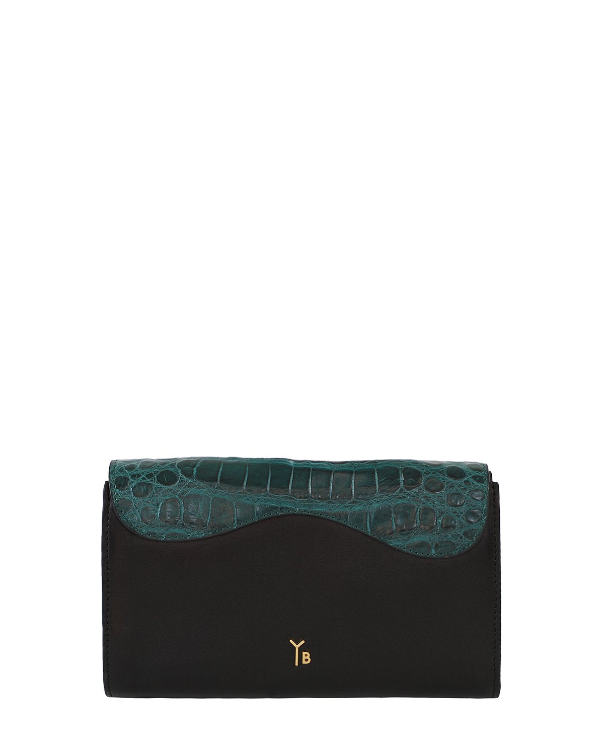 GREEN BLACK GRAY ALLIGATOR OSTRICH OSCAR CLUTCH YELLOW GOLD YARA BASHOOR BACK VIEW
