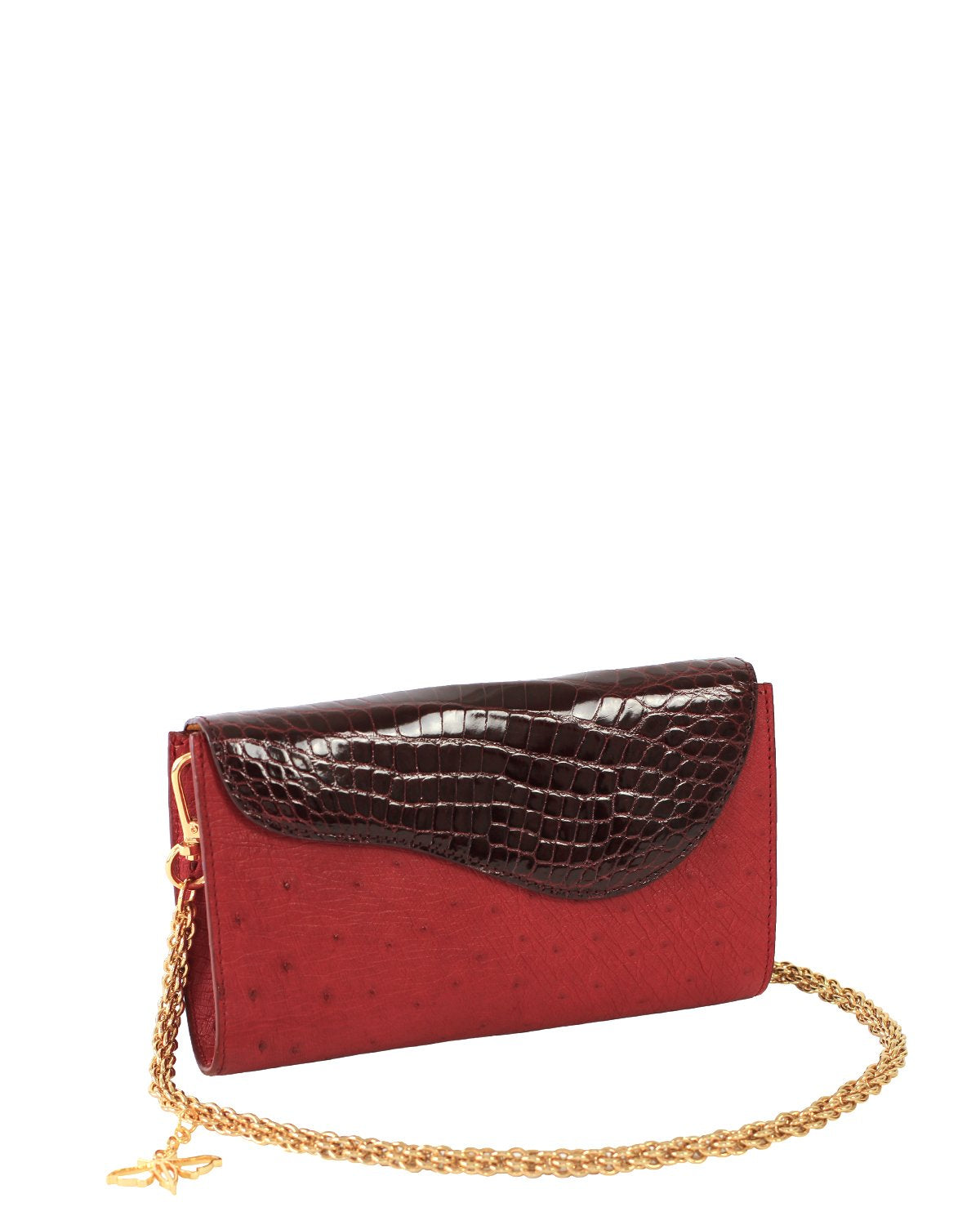 DARK RED ALLIGATOR OSTRICH OSCAR CLUTCH YELLOW GOLD YARA BASHOOR ANGLE VIEW