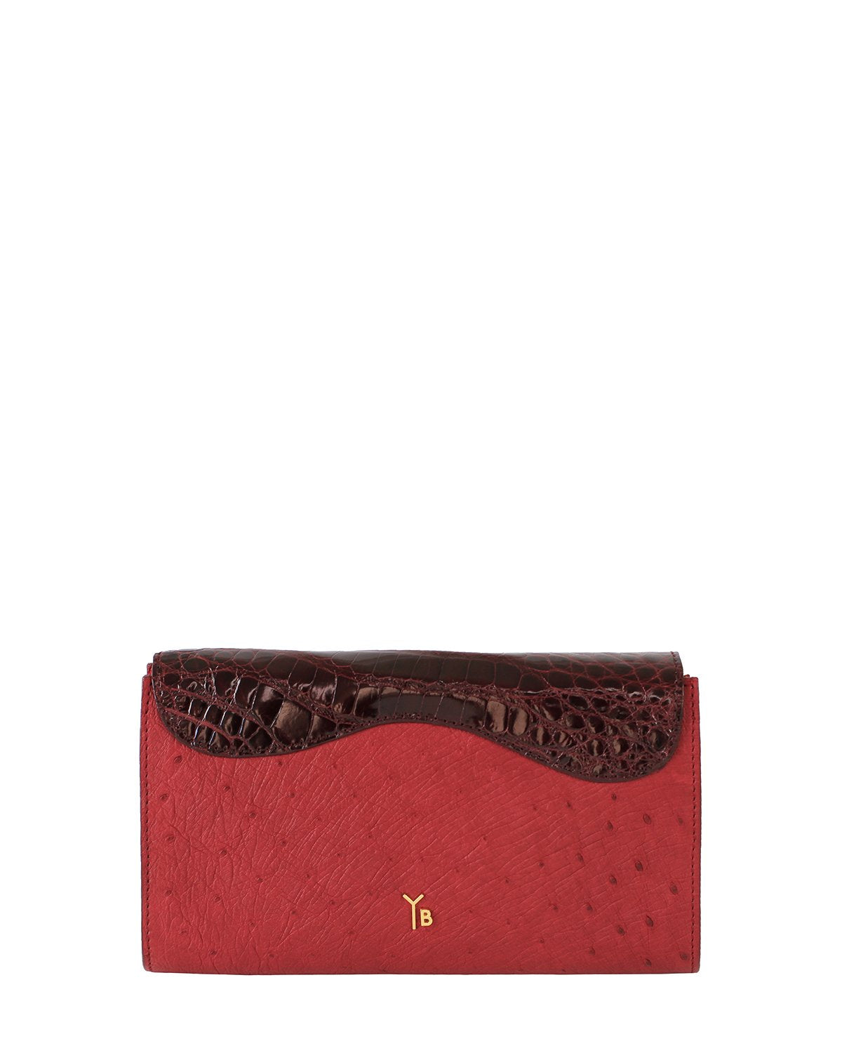 DARK RED ALLIGATOR OSTRICH OSCAR CLUTCH YELLOW GOLD YARA BASHOOR BACK VIEW