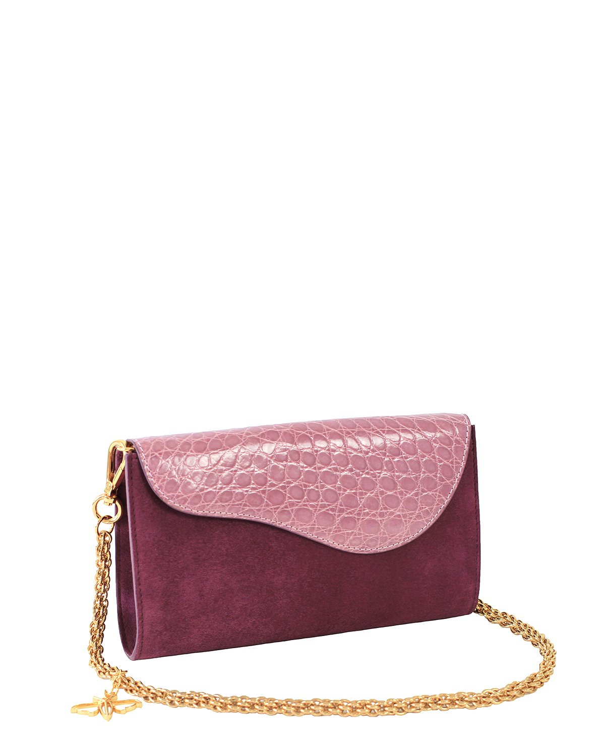 PINK VIOLET GRAY ALLIGATOR OSTRICH OSCAR CLUTCH YELLOW GOLD YARA BASHOOR ANGLE VIEW
