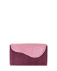PINK VIOLET GRAY ALLIGATOR OSTRICH OSCAR CLUTCH YELLOW GOLD YARA BASHOOR FRONT VIEW