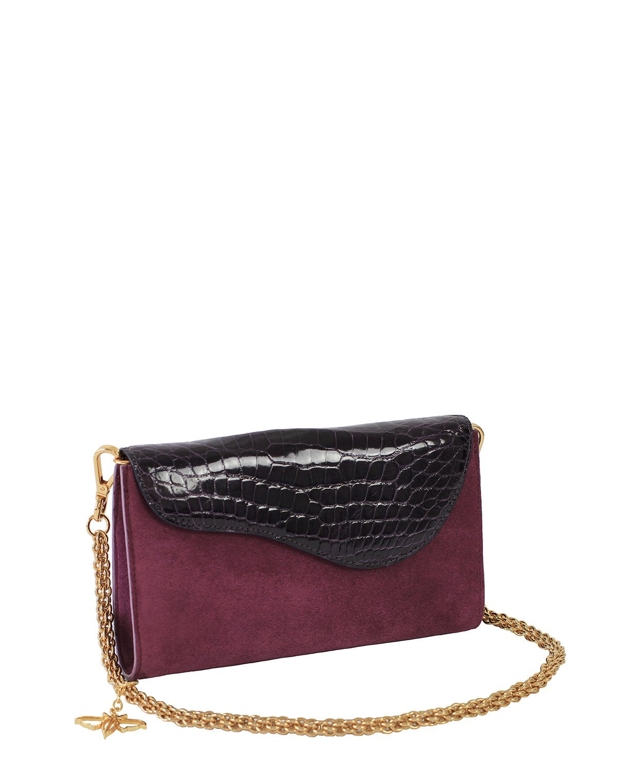 RED VIOLET GRAY ALLIGATOR OSTRICH OSCAR CLUTCH YELLOW GOLD YARA BASHOOR ANGLE VIEW