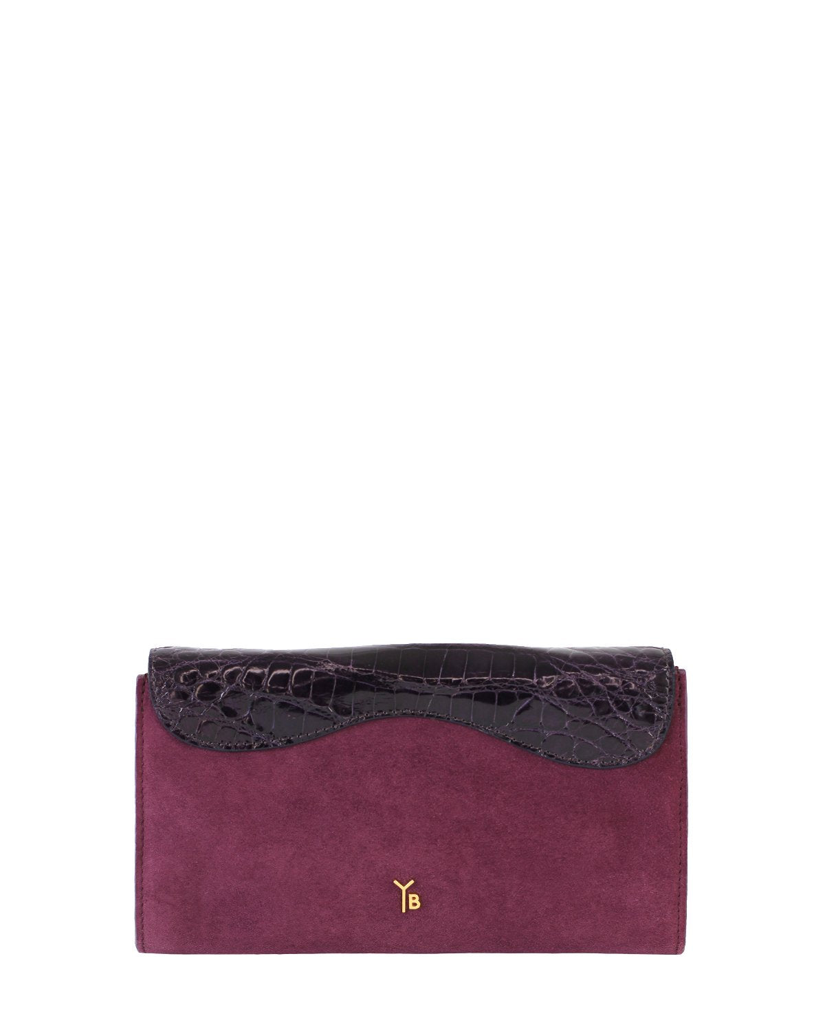 RED VIOLET GRAY ALLIGATOR OSTRICH OSCAR CLUTCH YELLOW GOLD YARA BASHOOR BACK VIEW