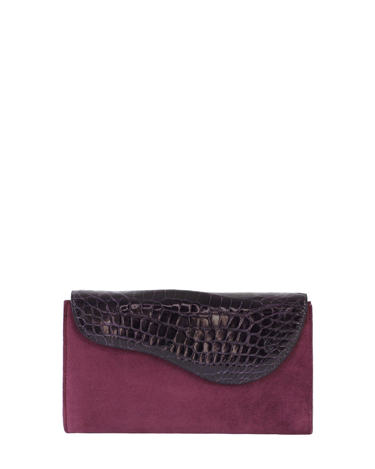 RED VIOLET GRAY ALLIGATOR OSTRICH OSCAR CLUTCH YELLOW GOLD YARA BASHOOR FRONT VIEW