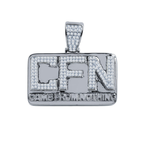 ICED OUT CFN (CAME FROM NOTHING) PENDANT IN WHITE GOLD