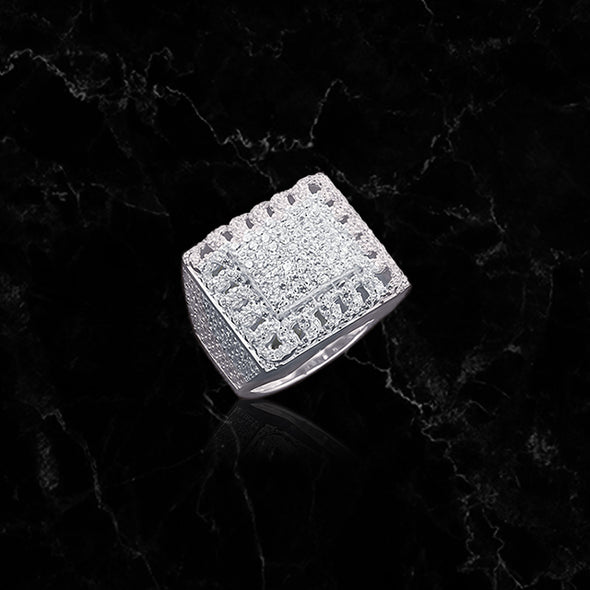 SQUARE RING // ICED OUT WHITE GOLD