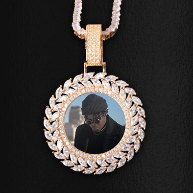 ICED OUT ROUND CUT x MARQUISE DIAMOND PHOTO MEDALLION + CHAIN