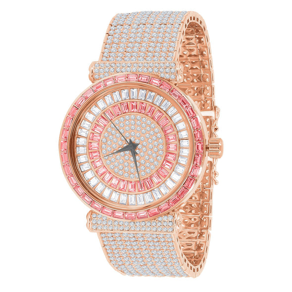 ICED WHITE X PINK GOLD BAGUETTE STONE WATCH