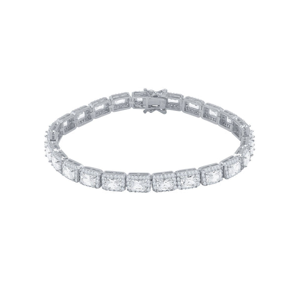 6MM RECT CUT BAGUETTE TENNIS BRACELET WHITE GOLD