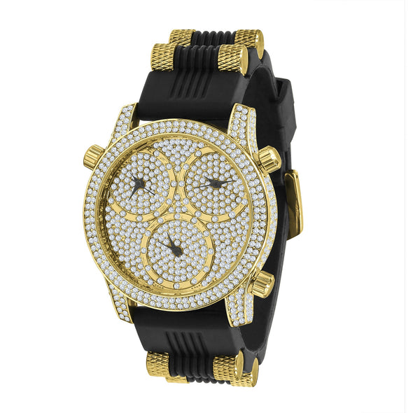 RUBBER BAND X ICED 3PEAT WATCH IN YELLOW GOLD