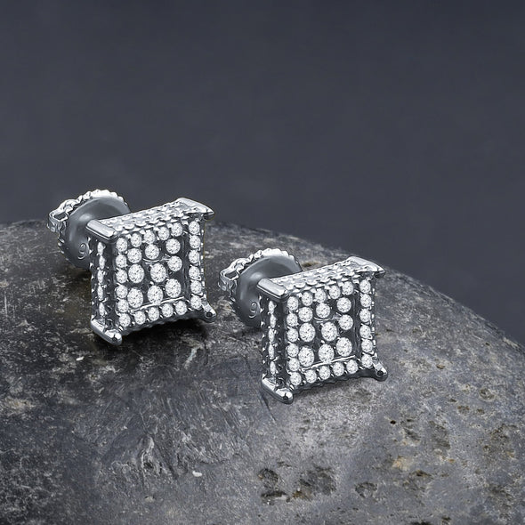 ICED SQUARE // WHITE GOLD EARRINGS