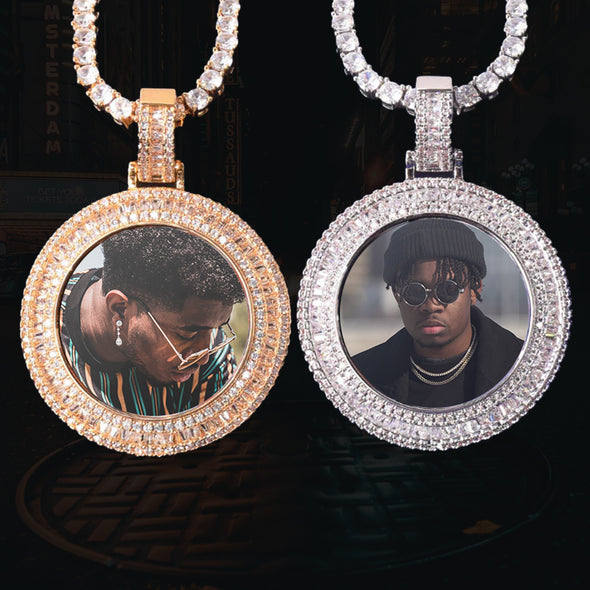 ICED OUT ROUND BAGUETTE DIAMOND PHOTO MEDALLION + CHAIN