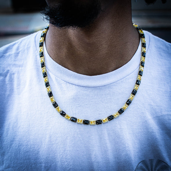 6MM RECT CUT YELLOW X BLACK BAGUETTE TENNIS CHAIN