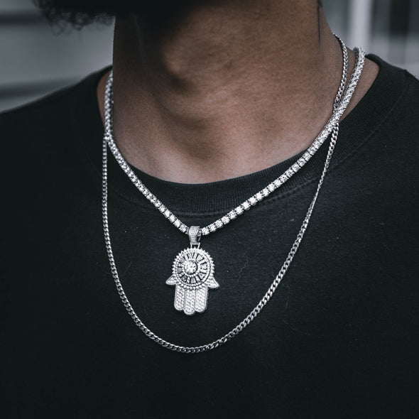 ICED HAMSA PENDANT IN WHITE GOLD