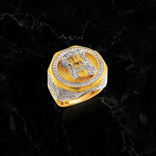 JESUS RING // ICED OUT YELLOW GOLD
