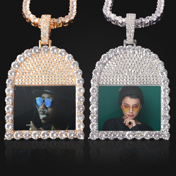 ICED OUT ROUND CUT TOMBSTONE PHOTO PENDANT + CHAIN