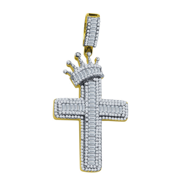 ICED ROYAL BLESSINGS CROSS PENDANT IN YELLOW GOLD